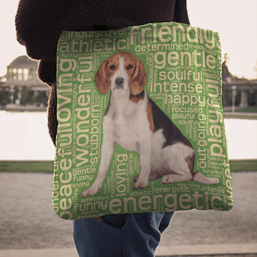 Designs by MyUtopia Shout Out:Funny Beagle Word Cloud Fabric Totebag Reusable Shopping Tote