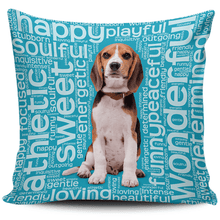 Load image into Gallery viewer, Designs by MyUtopia Shout Out:Funny Beagle Word Cloud Pillowcases,Blue,Pillowcases