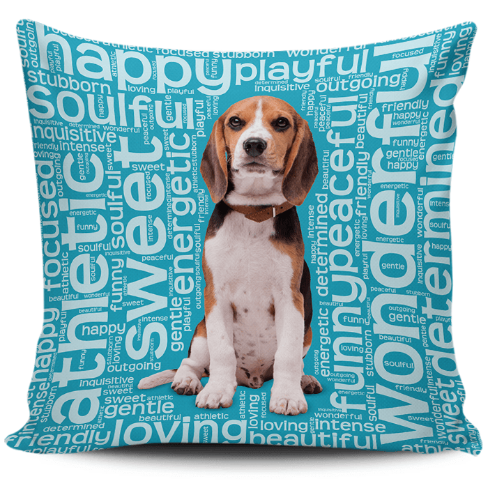 Designs by MyUtopia Shout Out:Funny Beagle Word Cloud Pillowcases,Blue,Pillowcases