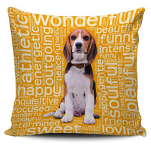 Load image into Gallery viewer, Designs by MyUtopia Shout Out:Funny Beagle Word Cloud Pillowcases,Gold,Pillowcases