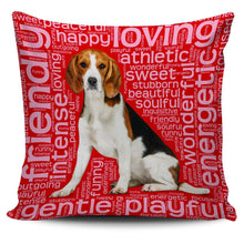 Load image into Gallery viewer, Designs by MyUtopia Shout Out:Funny Beagle Word Cloud Pillowcases,Red,Pillowcases