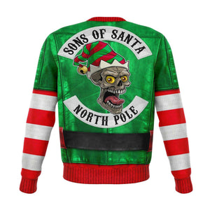 Designs by MyUtopia Shout Out:Funny Christmas Sweater Elf Sons of Santa Biker Jacket - Premium Unisex Fashion Sweatshirt