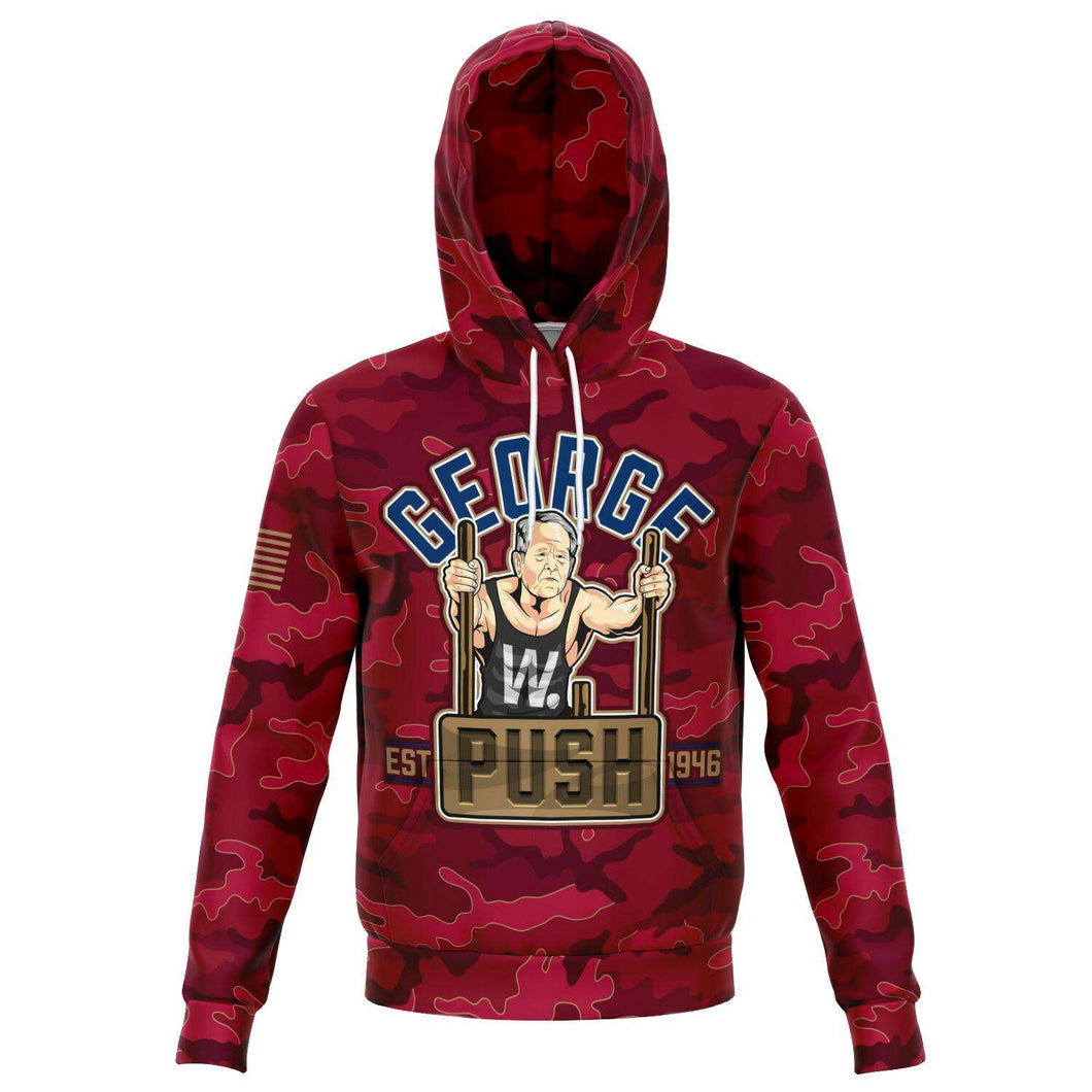 Designs by MyUtopia Shout Out:George W. Push - Political Humor Fashion Pullover Hoodie,XS / Red,Fashion Hoodie - AOP