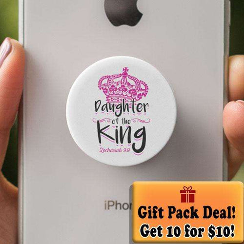 Designs by MyUtopia Shout Out:Gift Pack of 10 Son / Daughter of The King Zach 9:9 Hinged Pop-out Phone Grip for Smartphones and Tablets,Daughter White,Pop Phone Grip