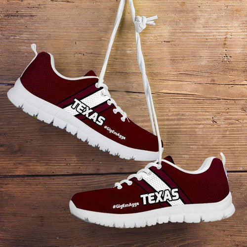 Designs by MyUtopia Shout Out:#GigEmAggs Texas A&M Fan Running Shoes,Kid's / 11 CHILD (EU28) / Maroon/White,Running Shoes