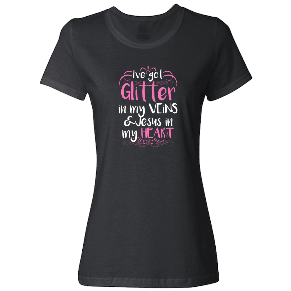 Designs by MyUtopia Shout Out:Glitter in my Veins Jesus in my Heart Ladies T-Shirt,Black / S,Ladies T-Shirts