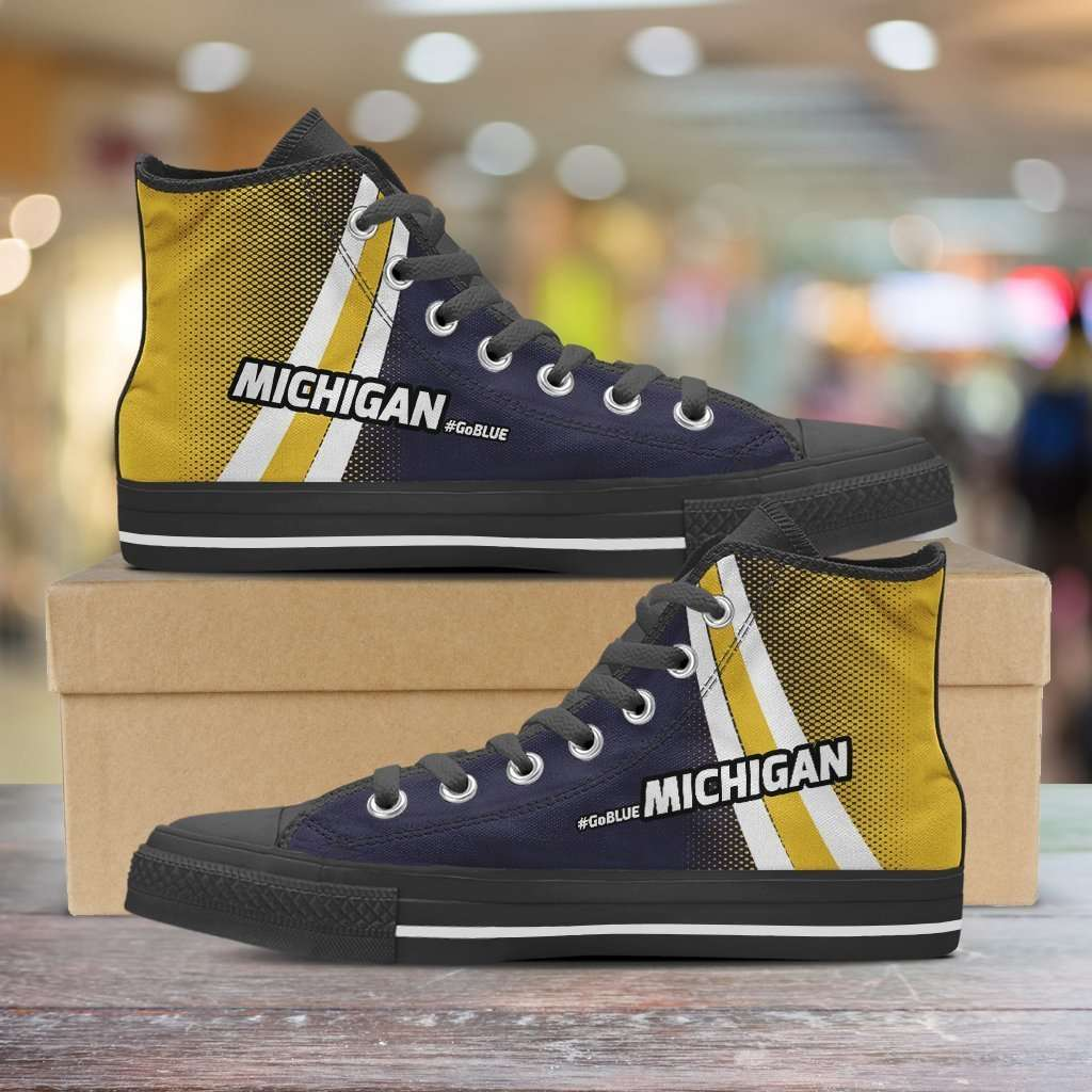 Designs by MyUtopia Shout Out:#GoBlue Michigan Canvas High Top Shoes,Men's / Mens US 8 (EU40) / Black/Dark Blue/Yellow,High Top Sneakers