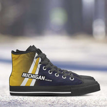 Load image into Gallery viewer, Designs by MyUtopia Shout Out:#GoBlue Michigan Canvas High Top Shoes