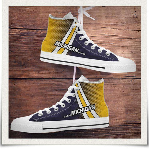Designs by MyUtopia Shout Out:#GoBlue Michigan Canvas High Top Shoes,Men's / Men's US 8 (EU40) / White/Blue/Yellow,High Top Sneakers
