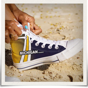 Designs by MyUtopia Shout Out:#GoBlue Michigan Canvas High Top Shoes,Women's / Ladies US 6 (EU36) / White/Blue/Yellow,High Top Sneakers