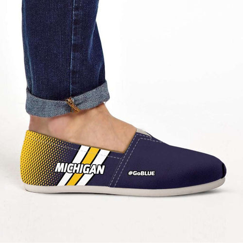 Designs by MyUtopia Shout Out:#GoBlue Michigan Casual Canvas Slip on Shoes Women's Flats,US6 (EU36) / Blue/Yellow/White,Slip on Flats
