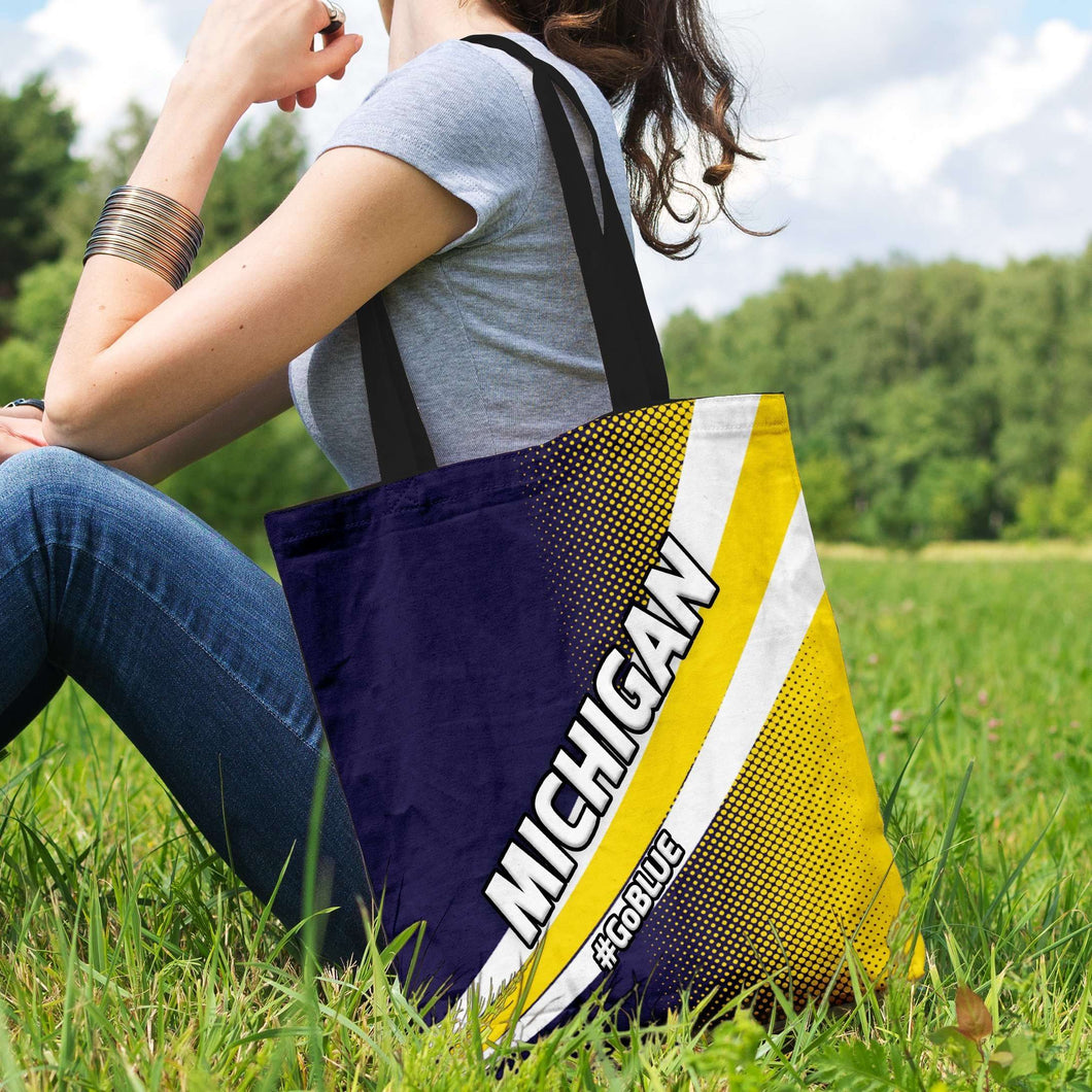 Designs by MyUtopia Shout Out:#GoBlue Michigan Fan Fabric Totebag Reusable Shopping Tote