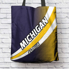 Load image into Gallery viewer, Designs by MyUtopia Shout Out:#GoBlue Michigan Fan Fabric Totebag Reusable Shopping Tote