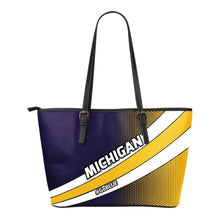 Load image into Gallery viewer, Designs by MyUtopia Shout Out:#GoBlue Michigan Fan Faux Leather Totebag Purse  (Medium)