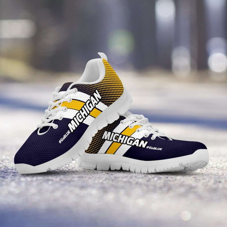 Designs by MyUtopia Shout Out:#GoBlue Michigan Fan Running Shoes,Mens US5 (EU38) / Blue/Yellow,Running Shoes