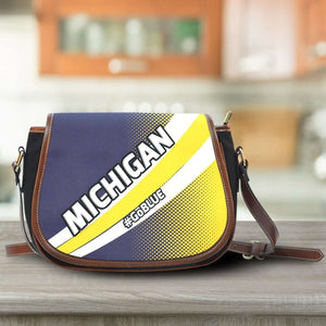 Designs by MyUtopia Shout Out:#GoBlue Michigan Fan Saddlebag Style Canvas Crossbody Purse