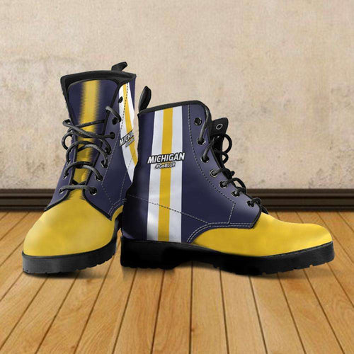 Designs by MyUtopia Shout Out:#GoBlue Michigan Faux Leather 7 eye Lace-up Boots,Men's / US5 (EU38) / Blue/Yellow,Lace-up Boots