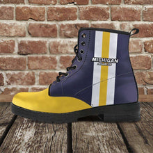 Load image into Gallery viewer, Designs by MyUtopia Shout Out:#GoBlue Michigan Faux Leather 7 eye Lace-up Boots