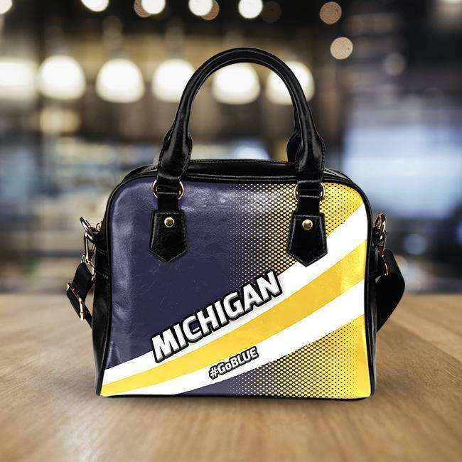 Designs by MyUtopia Shout Out:#GoBlue Michigan Faux Leather Handbag with Shoulder Strap