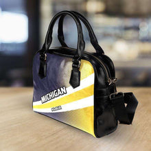 Load image into Gallery viewer, Designs by MyUtopia Shout Out:#GoBlue Michigan Faux Leather Handbag with Shoulder Strap