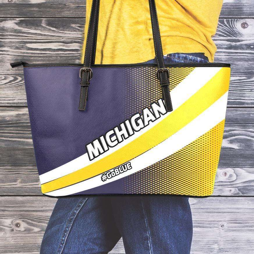 Designs by MyUtopia Shout Out:#GoBlue Michigan Faux Leather Totebag Purse,Medium (10 x 16 x 5) / Black/Yellow/Blue,tote bag purse