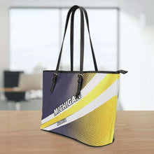 Load image into Gallery viewer, Designs by MyUtopia Shout Out:#GoBlue Michigan Faux Leather Totebag Purse