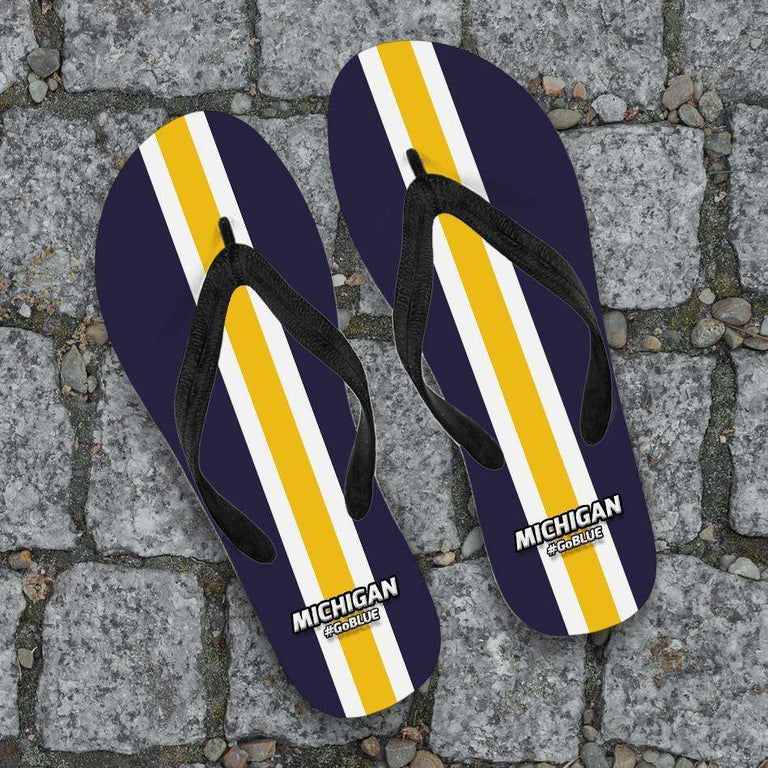 Designs by MyUtopia Shout Out:#GoBlue Michigan Flip Flops