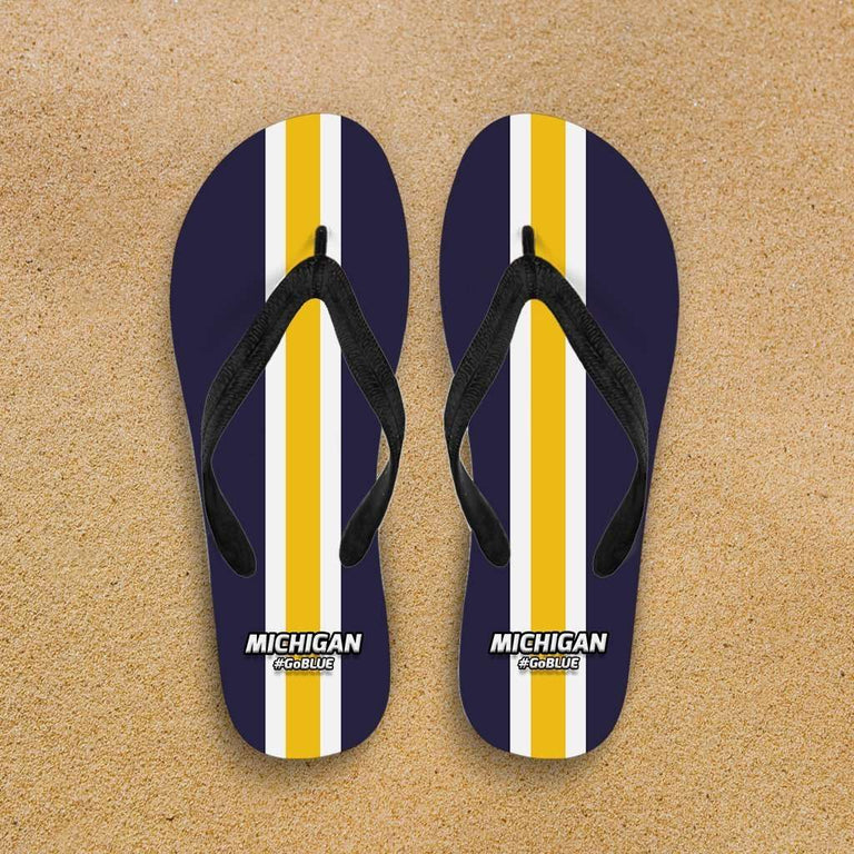 Designs by MyUtopia Shout Out:#GoBlue Michigan Flip Flops,Men's / Men's Small (US 7-8 /EU 40-42) / Blue/Yellow,Flip Flops