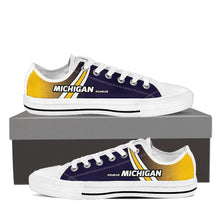 Load image into Gallery viewer, Designs by MyUtopia Shout Out:#GoBlue Michigan Lowtop Shoes,Men's / Men's US8 (EU40) / White/Blue/Yellow,Lowtop Shoes