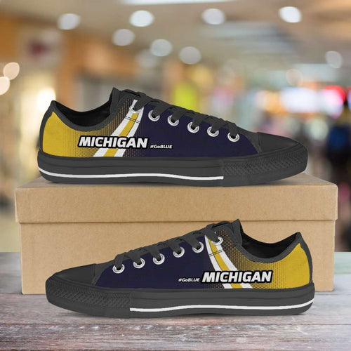 Designs by MyUtopia Shout Out:#GoBlue Michigan Lowtops Shoes,Men's / Mens US5 (EU38) / White/Blue/Yellow,Lowtop Shoes