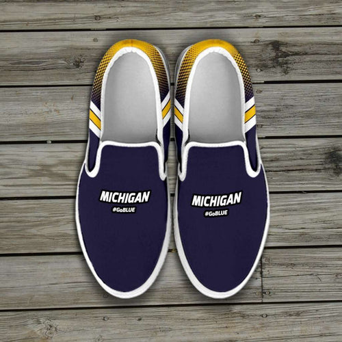 Designs by MyUtopia Shout Out:#GoBlue Michigan Slip-on Shoes,Men's / Men's US8 (EU40) / Blue/Yellow,Slip on sneakers