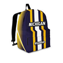 Load image into Gallery viewer, Designs by MyUtopia Shout Out:#GoBlue Michigan Standard Size Backpack,Large (18 x 14 x 8 inches) / Adult (Ages 13+) / Blue/Yellow/White,Backpacks