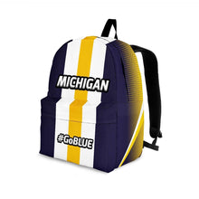 Load image into Gallery viewer, Designs by MyUtopia Shout Out:#GoBlue Michigan Standard Size Backpack