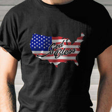 Load image into Gallery viewer, Designs by MyUtopia Shout Out:God Bless America Country Flag Adult Unisex Black T-Shirt