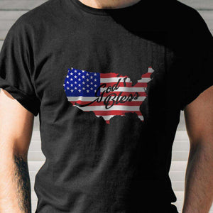 Designs by MyUtopia Shout Out:God Bless America Flag Country Adult Unisex T-Shirt