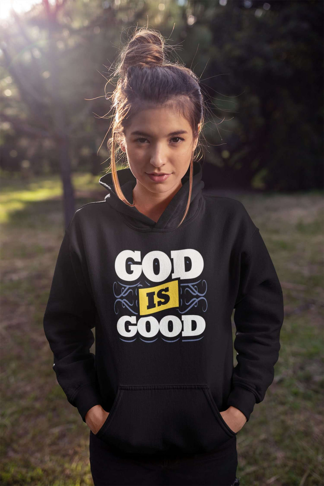 Designs by MyUtopia Shout Out:God Is Good Core Fleece Pullover Hoodie