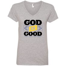 Load image into Gallery viewer, Designs by MyUtopia Shout Out:God Is Good Ladies' V-Neck T-Shirt,Heather Grey / S,Ladies T-Shirts