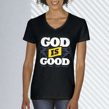 Load image into Gallery viewer, Designs by MyUtopia Shout Out:God Is Good Ladies' V-Neck T-Shirt