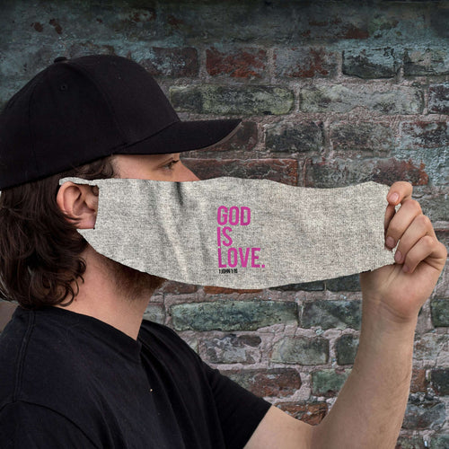 Designs by MyUtopia Shout Out:God Is Love 1 John 1:16 Fabric Face Covering / Face Mask