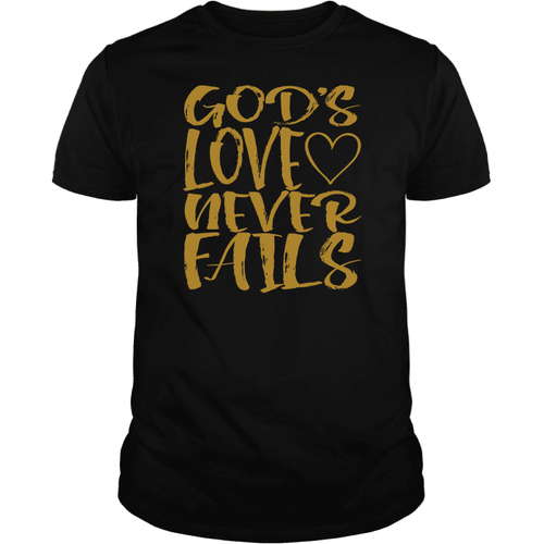 Designs by MyUtopia Shout Out:Gods Love Never Fails - T Shirt,Short Sleeve / Black / Small,Adult Unisex T-Shirt