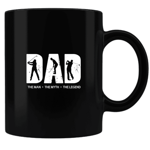 Designs by MyUtopia Shout Out:Golf Dad Black Ceramic Coffee Mug,Black,Ceramic Coffee Mug