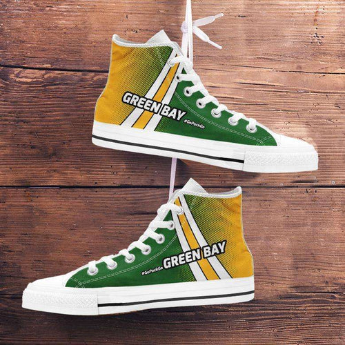 Designs by MyUtopia Shout Out:#GoPackGo Green Bay Canvas High Top Shoes,Men's / Mens US 5 (EU38) / Green/Gold,High Top Sneakers