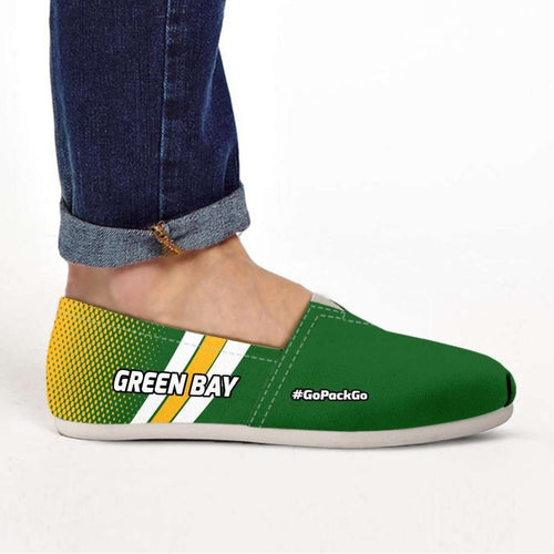Designs by MyUtopia Shout Out:#GoPackGo Green Bay Casual Canvas Slip on Shoes Women's Flats,US6 (EU36) / Green/Yellow,Slip on Flats