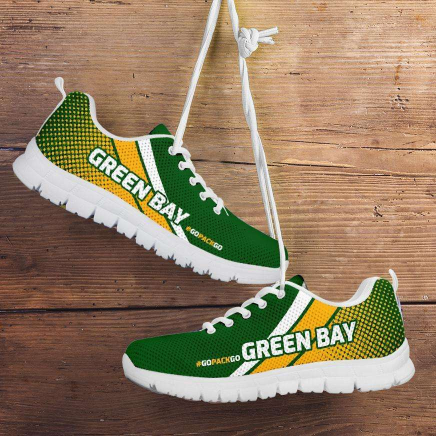 Designs by MyUtopia Shout Out:#GoPackGo Green Bay Fan Running Shoes,Mens US 5 (EU 38) / Green/Yellow,Running Shoes