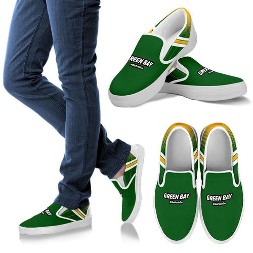 Designs by MyUtopia Shout Out:#GoPackGo Green Bay Fan Slip On Sneakers,Men's US8 (EU40) / Green,Slip on sneakers