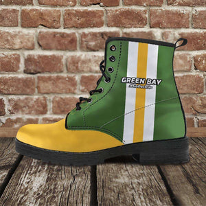 Designs by MyUtopia Shout Out:#GoPackGo Green Bay Faux Leather 7 Eye Lace-up Boots