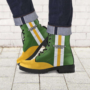 Designs by MyUtopia Shout Out:#GoPackGo Green Bay Faux Leather 7 Eye Lace-up Boots,Men's / Mens US5 (EU38) / Green/Yellow,Lace-up Boots