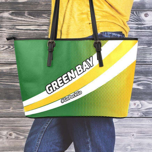 Designs by MyUtopia Shout Out:#GoPackGo Green Bay Faux Leather Totebag Purse,Medium (10 x 16 x 5) / White/Green/Yellow,tote bag purse