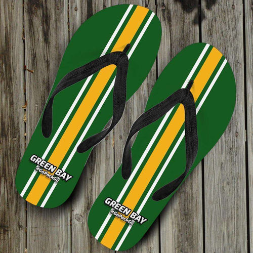 Designs by MyUtopia Shout Out:#GoPackGo Green Bay Flip Flops