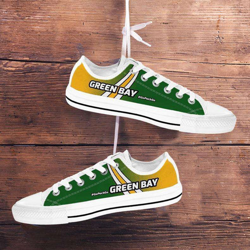 Designs by MyUtopia Shout Out:#GoPackGo Green Bay Lowtop Shoes,Men's / Mens US5 (EU38) / White/Green/Yellow,Lowtop Shoes